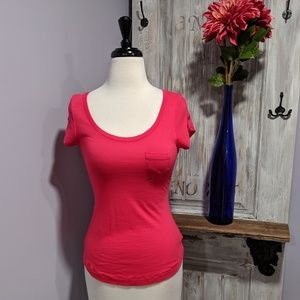 Express pink baby cap-sleeve pocket tee
